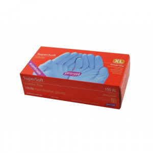 Pro-Val Nitrile Supersoft Disposable Gloves Powder Free Blue Large Box of 100